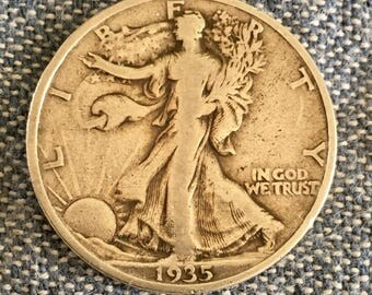 1935 P Half Dollar V.G. Beautiful age Tone  SILVER STANDING LIBERTY Coins  Harder to find - Free Usa Shipping