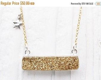 druzy bar necklace, gold druzy rectangle, sterling silver, titanium druzy, drusy, druzy, silver star necklace, celestial, druzy jewelry
