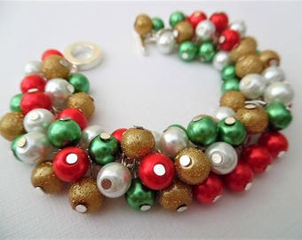 Christmas Bracelet,  Red Gold White Green Pearl Bracelet, Cluster Bracelet, Chunky Bracelet, Gift For Her, Ready to Ship, Christmas Colours