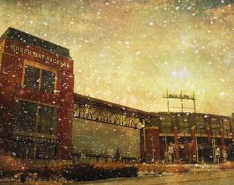 Lambeau Field, Packers Decor, Green Bay Packers, Packers Print, Large Wall Art Print, Man Cave, Packers Art, Frozen Tundra