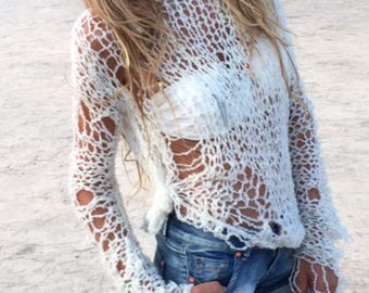 ivory white sweater, net sweater, beach sweater, loose knit, open weave  The iLE AiYE summer grunge sweater