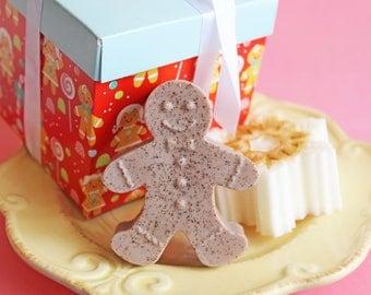 Christmas Gift Set - Gingerbread Man, Snowflake Soap, Gift, Stocking Stuffer, Teen Gift, Whipped Soap, Gift For Her, Teen Gift, Co Worker