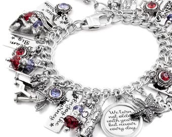 70th Birthday Gift, Personalized Birthday Bracelet, Engraved Birthday Bracelet, Choose your charms, crystals, name and years