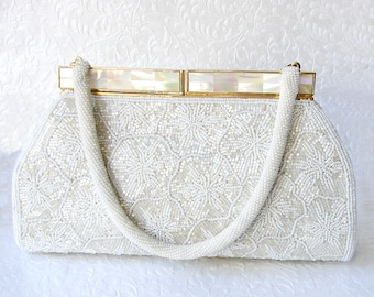 Vintage Beaded Purse Creations by Harilela's MOP Mother Of Pearl Clasp Cream White Beads Poppy Flowers Wedding Formal Handbag Evening Bag