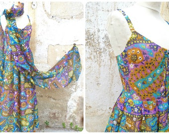 Vintage 1960s /1970s French psychedelic couture silk cocktail dress  with assorted long scarf  size S