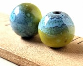 Blue and Yellow Enamel Round Copper Earring Beads