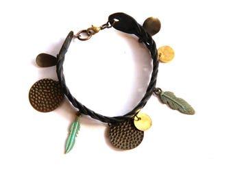 Black Leather Braid Feather Charm Bracelet