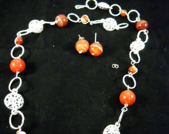 Red Banded Agate Necklace and Earrings Set
