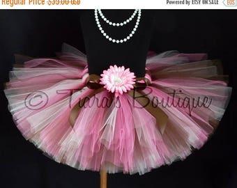SUMMER SALE 20% OFF Girls Birthday Tutu - Dance Tutu - Candy Kisses - Sewn 10'' Tutu - Chocolate Brown Pink Tutu - sizes Newborn up to 5T -