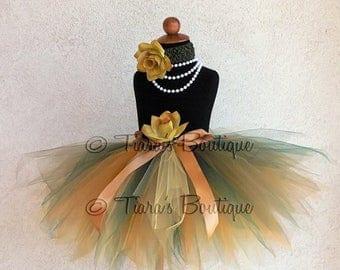 "SUMMER SALE 20% OFF Fall Tutu - Golden Green - Gold Yellow Green Custom Sewn 13"" Pixie Tutu - sizes newborn up to 5T - Beauty of Autumn Coll"
