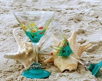 Hand Painted Ocean Martini Glasses (2)