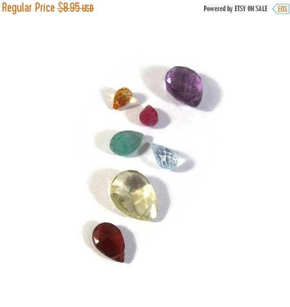 Memorial Day SALE - Briolette Grabs : Mixed Lot of 7 Gemstone Beads for Making Jewelry (B-Mix9a)