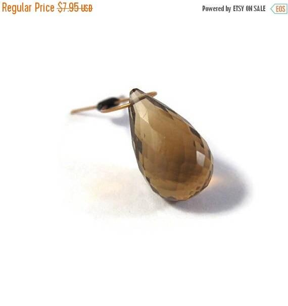Summer SALEabration - Natural Quartz Bead, Elongated Quartz Briolette, Focal Gemstone for Jewelry Making, 12.5mm x 7mm, Slightly Damaged Tip