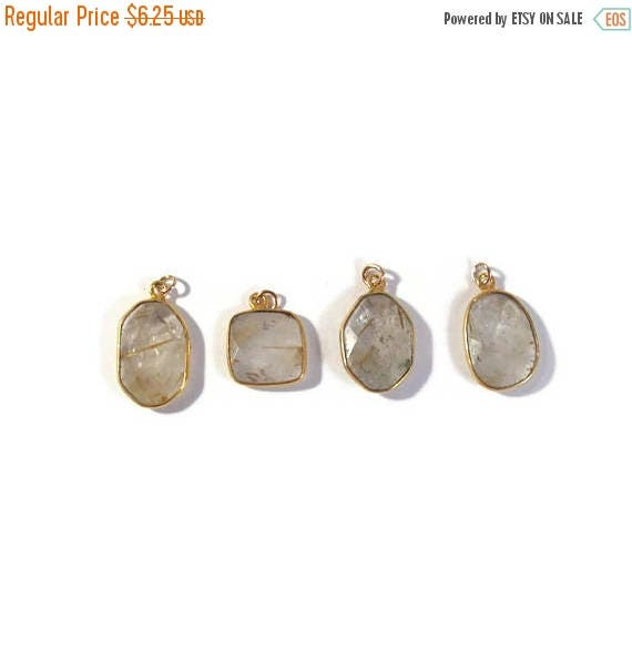 Summer SALEabration - One Gemstone Charm, Gold Rutile Quartz Pendant, Natural Gemstone, Jewelry Supplies (C-Qu4b)