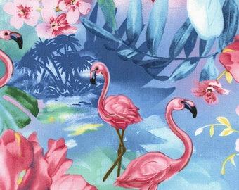 Timeless Treasures, Tropical Flamingo's in Ocean, cotton fabric,  1 yard