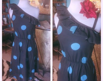 Vintage 1940s style Dress black blue polka dot M L swing rockabilly pinup 40s