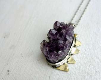 Chunky Purple Amethyst Geode Pendant with Brass Spikes Triangles Side Handmade Statement Pendant Purple and Gold