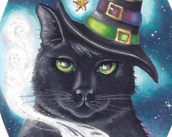 Black Cat ACEO Witch Cat ACEO Cat ATC Halloween Art Black Cat Art Fishbone Witch Hat