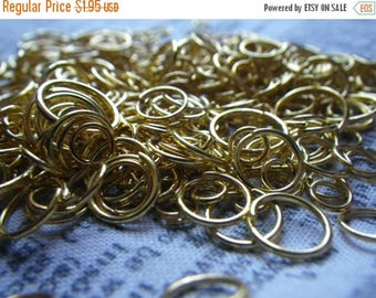 SALE 30% Off Bright Gold Plated Jump Ring Mix 4-10mm 1 ounce at least 200 pieces