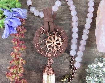 Rose Quartz Pink & Brown Vegan Suede Dreamcatcher Style Flower - Peach Aura Quartz -  Choker Necklace - Crystal Godess - High Vibes