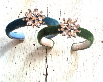 Velvet and Rhinestone Adjustable Cuff Bracelets