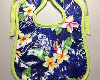 Wipeable Baby Bibs - Hawaiian Plumeria