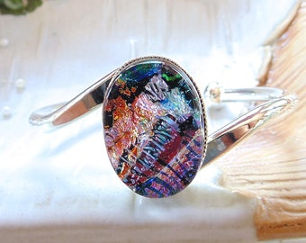 Silver Plated Dichroic Glass Cuff Bracelet, Pink, Red, Blue, Orange, Green, One of a Kind