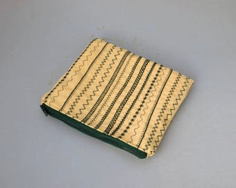 Yellow and Green Decorative Stitched Zipper Pouches