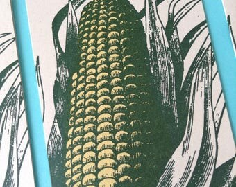 8 pack Green CORN on the COB Greeting Cards Farmers Market Letterpress Card garden crops midwest gift food