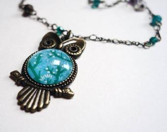 OWL necklace, blue cherry CCH002B