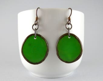 Greenery Tagua Nut Eco Friendly Yoga Accessories Earrings with Free USA Shipping #taguanut #ecofriendlyjewelry