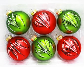 Pinstriped Christmas Ornaments - Black / White Pinstriping on Red / Green Glass Ornaments - Set of 6