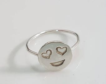 SALE - Heart eyes emoji ring, Silver smiley ring, funny ring, silver friendship ring
