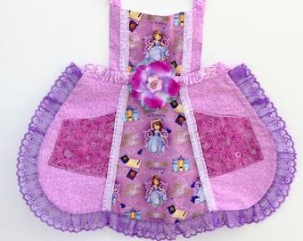 Sofia Princess Apron, girls apron, toddler apron, disney apron
