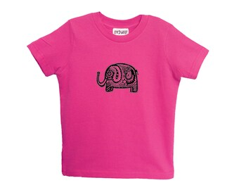 Pink Elephant Kids Tshirt Size 2 4 6 American Apparel Cotton T2 T4 T6