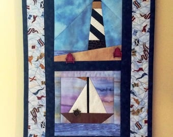 Lakeside Quilt, Seascape Scene, Lighthouse Quilt, Lighthouse/Sailboat Quilt, Lighthouse Scene