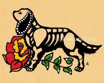 Day of the Dead Dog CAVALIER KING CHARLES Spaniel Dia de los Muertos Art Print 5 x 7, 8 x 10 or 11 x 14 - Choose your own words