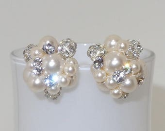 ON SALE 20% OFF Swarovski Pearl and Crystal Bridal Cluster Stud Earrings Wedding Rhinestone Accents in Ivory Jewelry Bridesmaids Gift