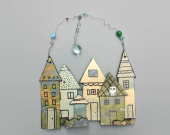 Storybook Houses Wall Hanging, Vintage Upcycle, Small Houses, Tiny Houses, Texas Bluebonnets, Whimsical House Wall Hanging, Cute Home Decor