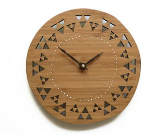 Triangle Wood Clock, Housewarming gift, Unique Wall Clock, natural style