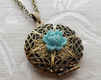 1/2 Price Sale- Scent Locket Necklace with Blue Rose Flower Charm
