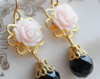 75% Off Price Sale, Pink Rose Flower, Gold Tone Filigree, Black Czech Glass Bead
