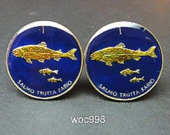 Slovenia coin cufflinks 3 trouts  21mm.