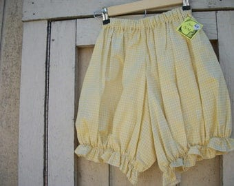 Yellow Gingham Shortie Bloomers