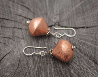 Unique Brushed Copper Drop Earrings