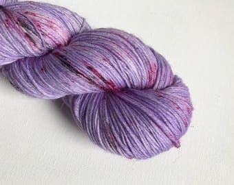 Hand-dyed yarn, Indie dyed yarn, hand dyed yarn I <3 NY purple tshirt -- dyed to order -- Times Square sock merino/ nylon yarn