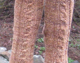 hand spun hand knit brown gold wool cable socks
