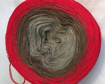 3-ply light fingering gradient tied cotton 100g Scarlet Sierra v.2