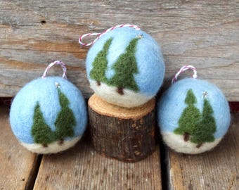 Snow in the Woods - Winter Felted Ornament