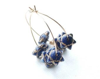 Blue and Gold Earrings, Star Earrings, Gold Hoops, Holiday Jewelry, Rustic Gold Jewelry, Funky Hoops, Boho Earrings, Cobalt Blue Earrings